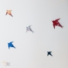 Vol de 5 hirondelles en origami.