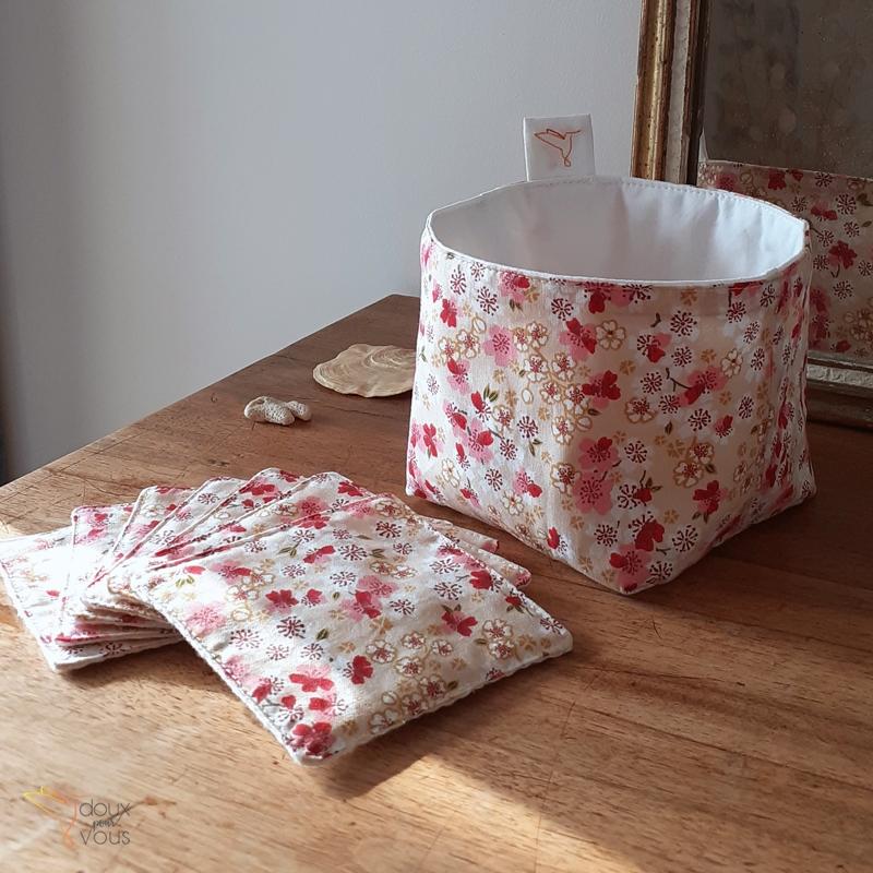 Panier en tissu et lingettes démaquillantes lavables, motif : Liberty.
