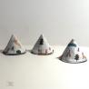 Lot de 3 Tipipis, motif Camping.