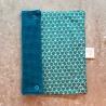 Essuie-tout lavable, composé de 2 tissus : un nid d'abeille bleu, un coton motif japonais.